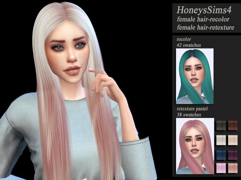 HoneysSims4 Retexture female hair Nightcrawler