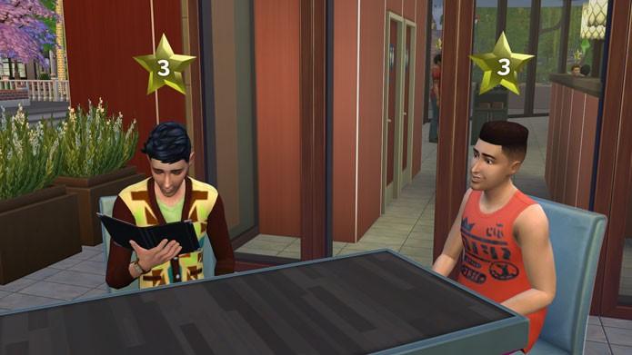 Avaliação dos clientes no The Sims 4 Escapada Gourmet