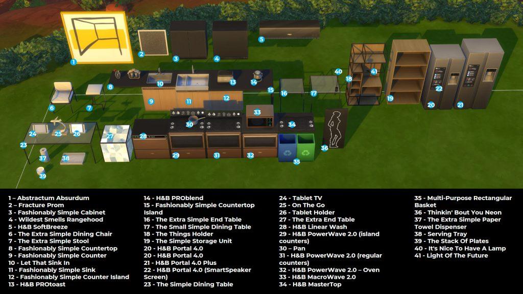 itens de construção do The Sims 4 Cozinha Moderna