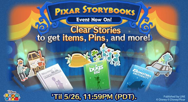 Evento de maio do Tsum Tsum: Pixar Storybooks