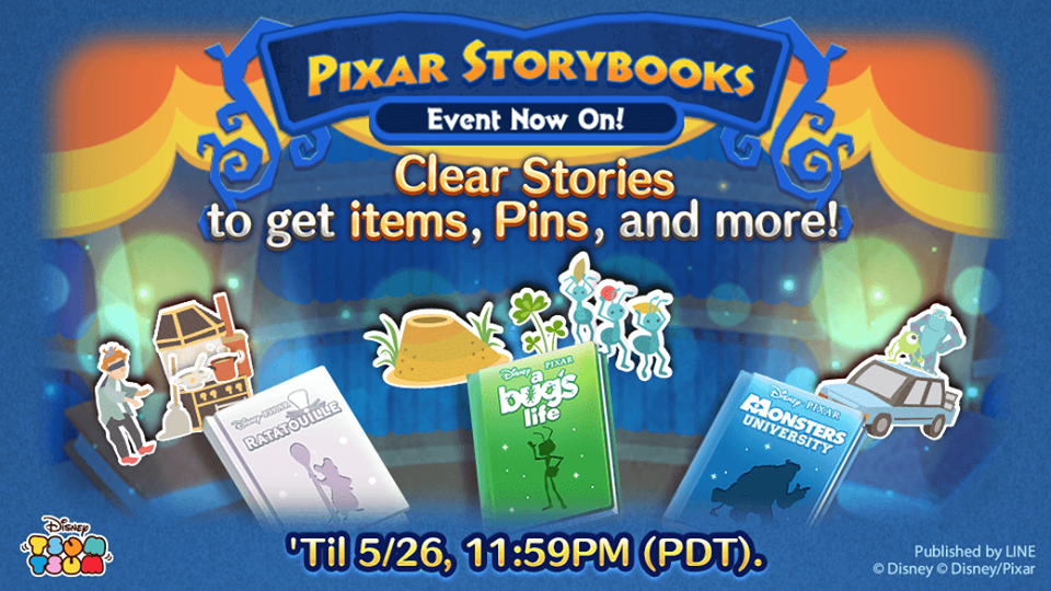 Evento de maio do Tsum Tsum: Pixar Storybooks