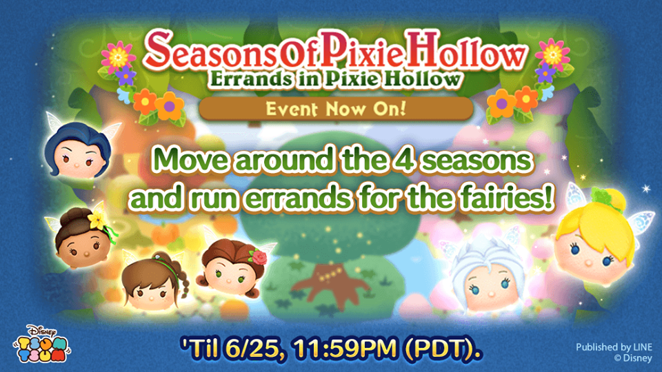 Evento de junho do Tsum Tsum: Seasons of Pixie Hollow