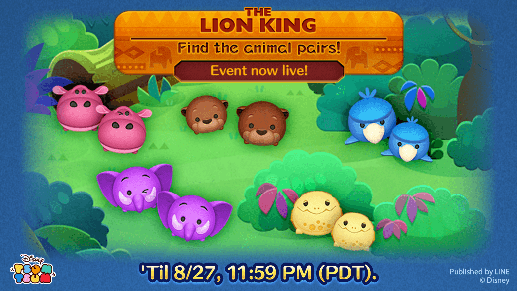 Evento de agosto do Tsum Tsum: The Lion King - Find The animal Pairs