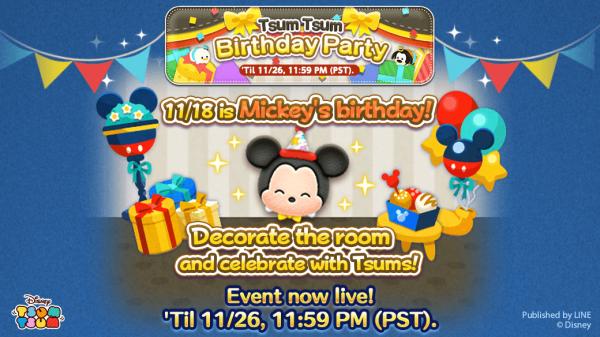 Evento de novembro do Tsum Tsum: Festa de Aniversário!